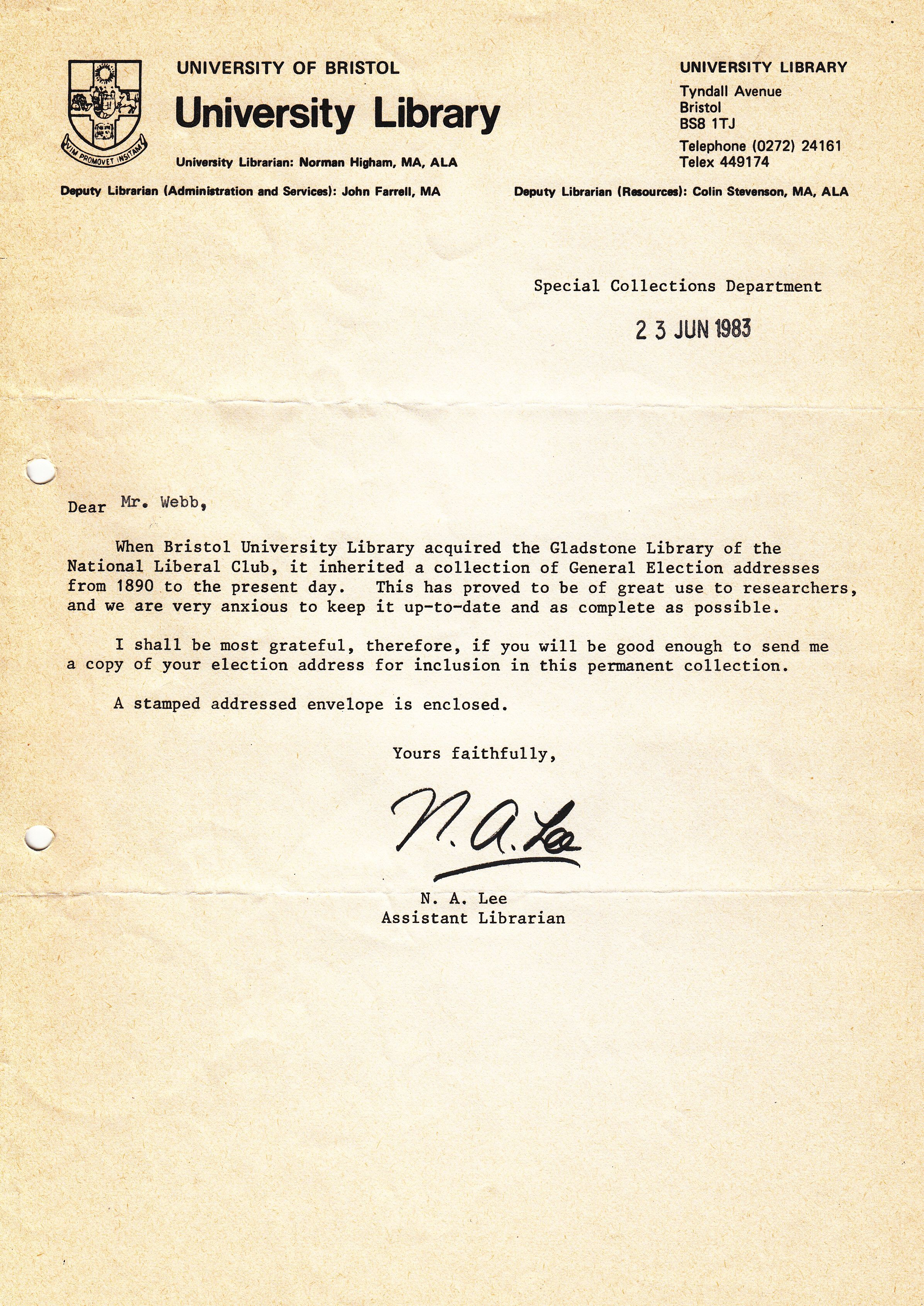 THE NCROPA ARCHIVE 1983 – Delegation Letter