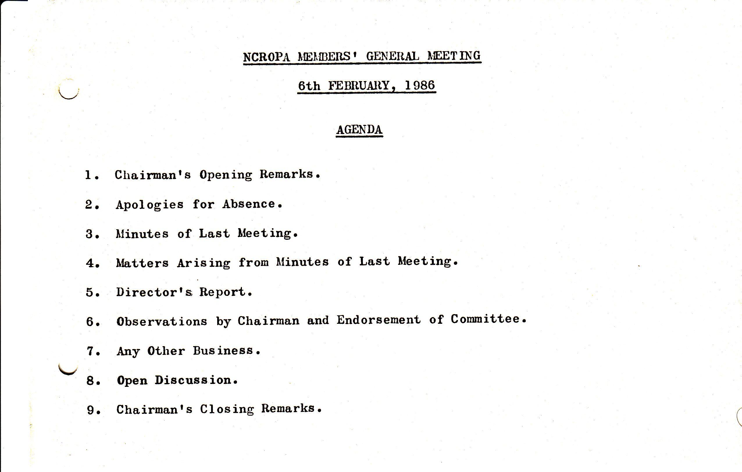 24) Notice of NCROPA Members General Meeting , February 6, 1986