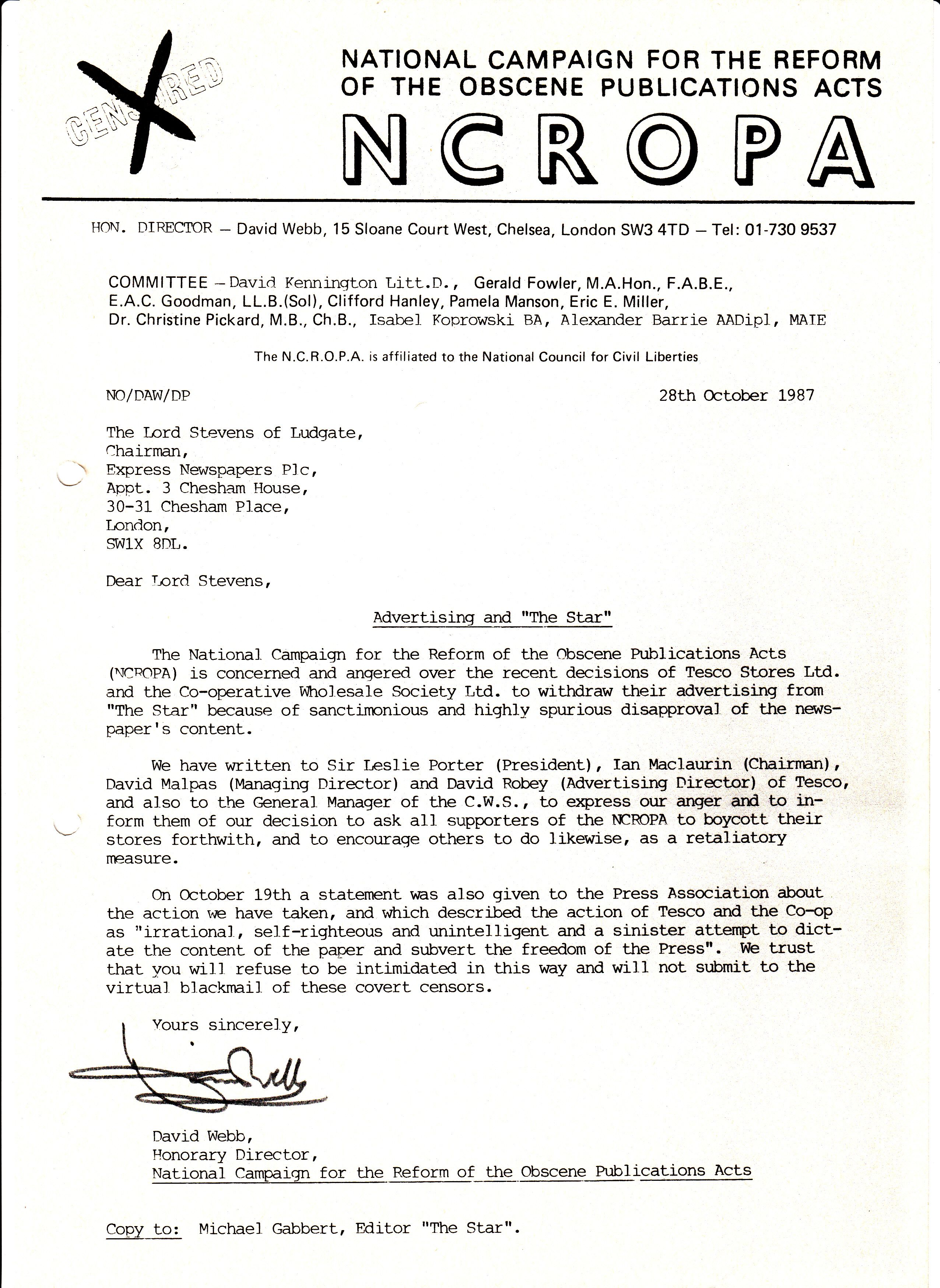 THE NCROPA ARCHIVE - 1987
