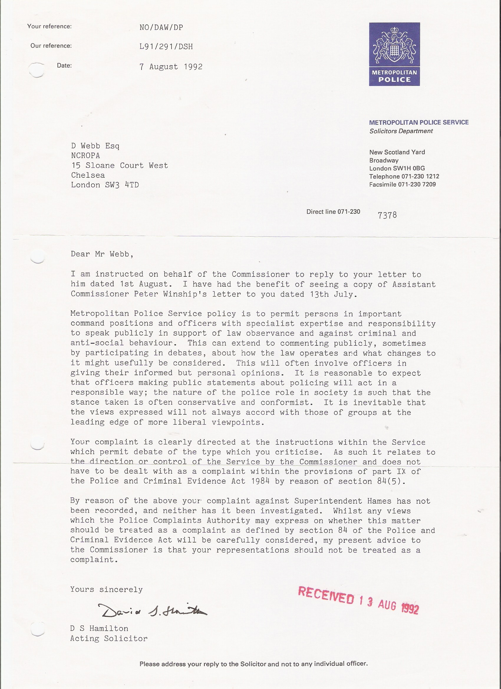 The ncropa archive 1992 sample letter to police to report lost or sample complaint letter to police commissioner spiritdancerdesigns Gallery