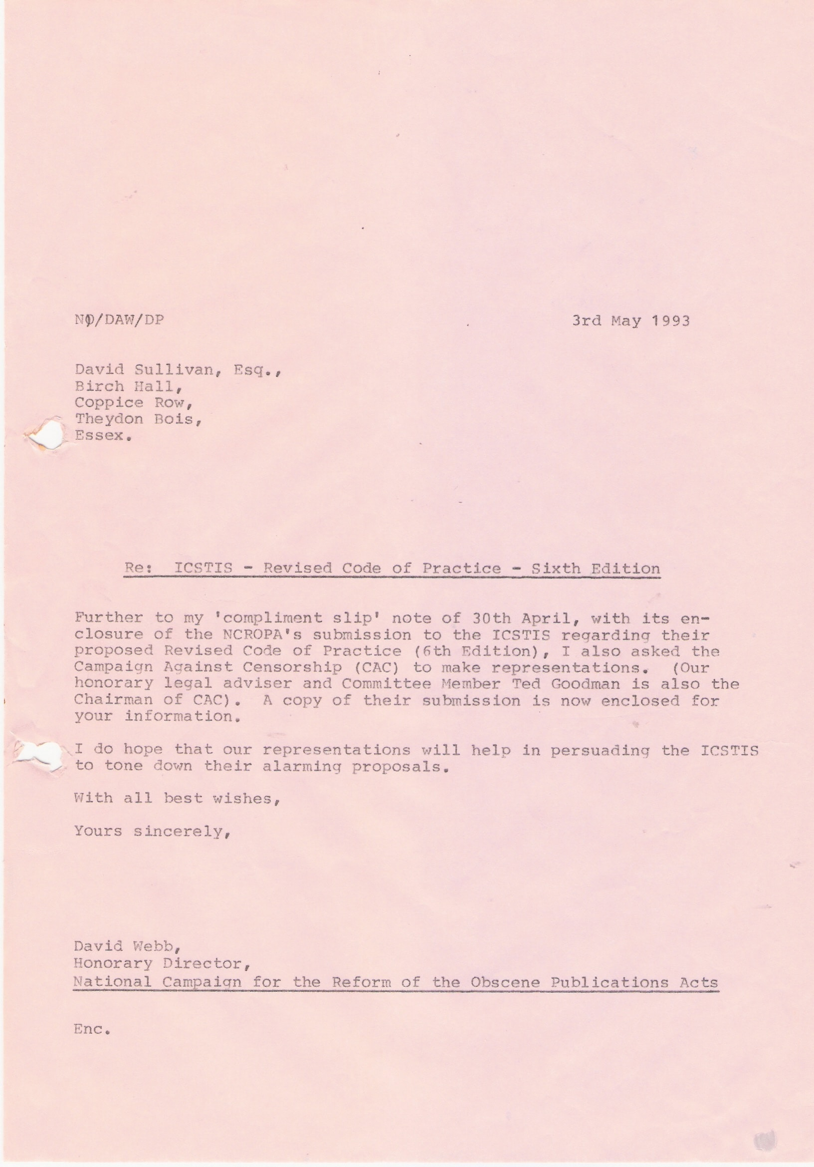 74 Copy letter David WebbNCROPA to Charles