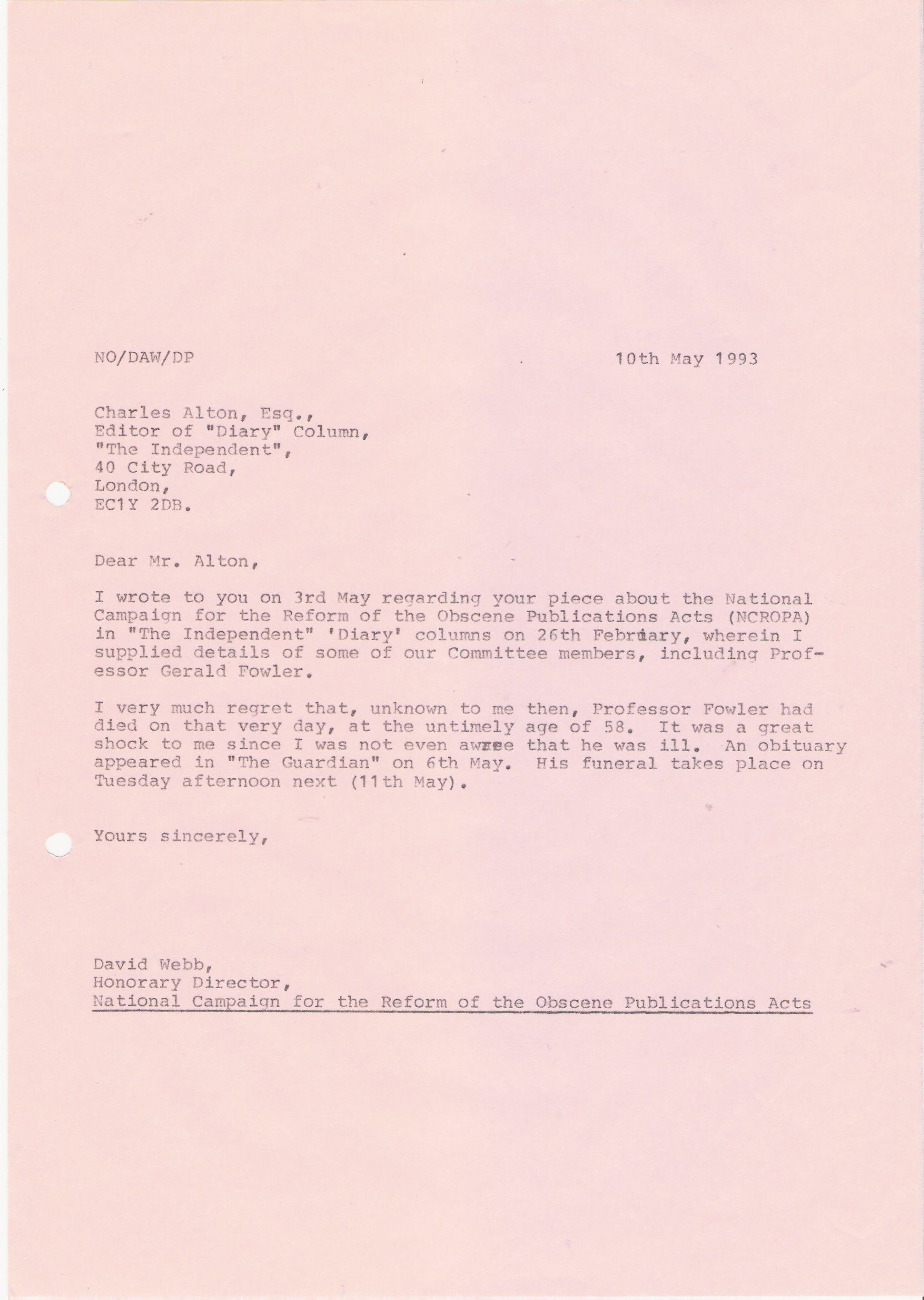 81 Copy letter David Webb to Pluto