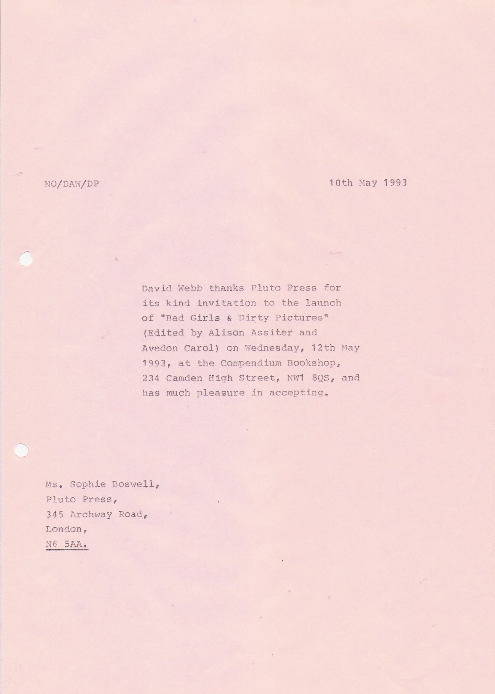 82 Copy letter David WebbNCROPA to Ken