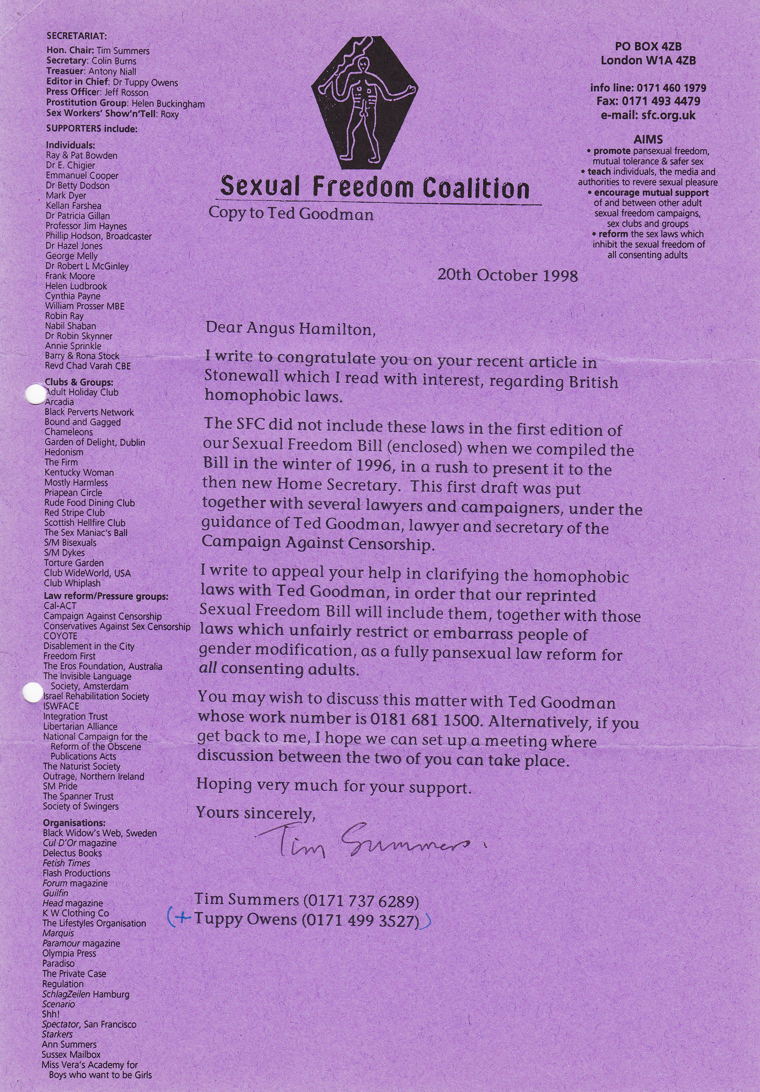 111 copy letter tuppy owens to ted goodman re petition to the home office october 28 1998 112 sexual freedom coalition folded leaflet circa november