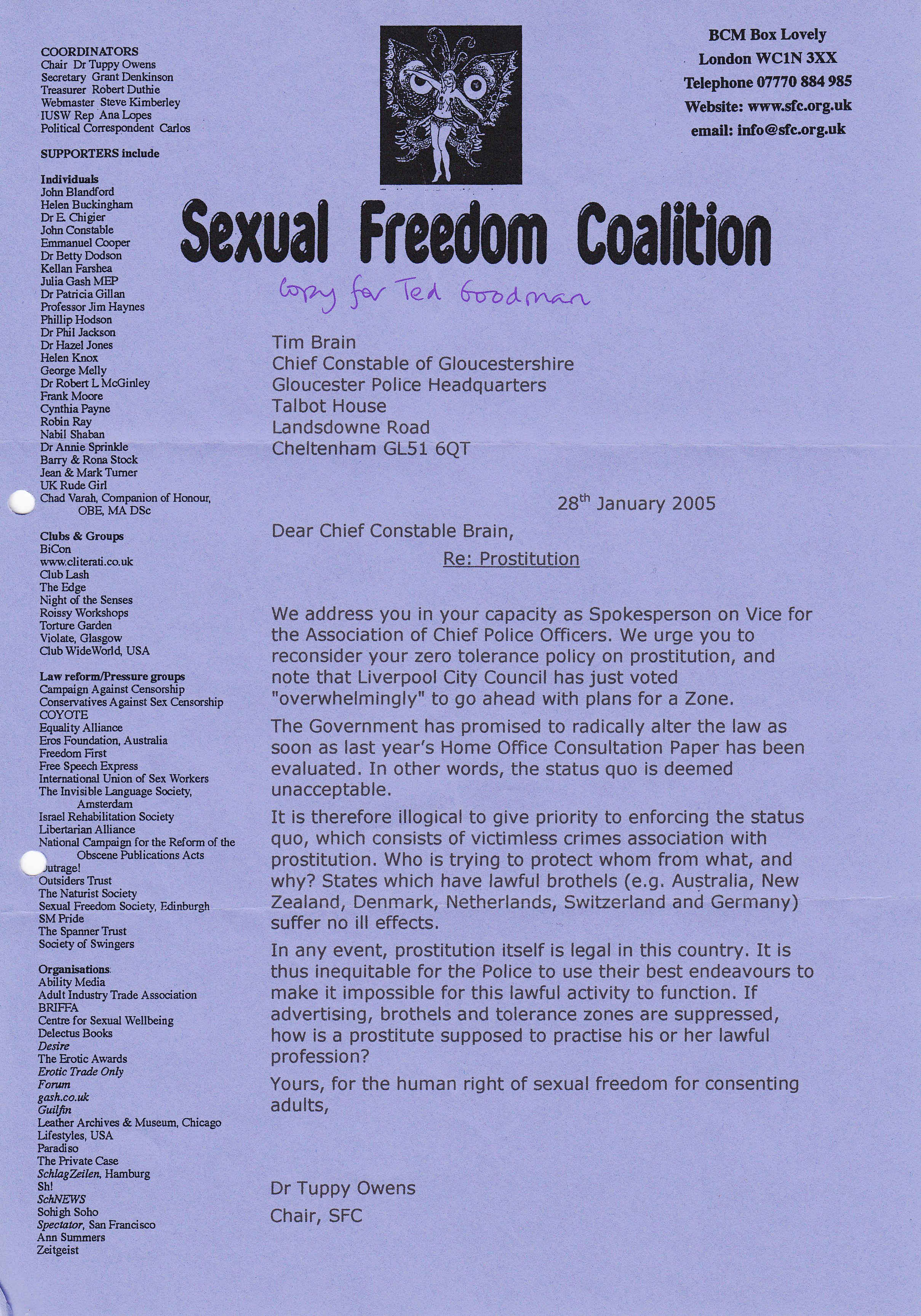 a copy of the actual letter above by tuppy owens for the sfc was in the file it was dated only january 2005 158 copy letter ted goodman to tuppy