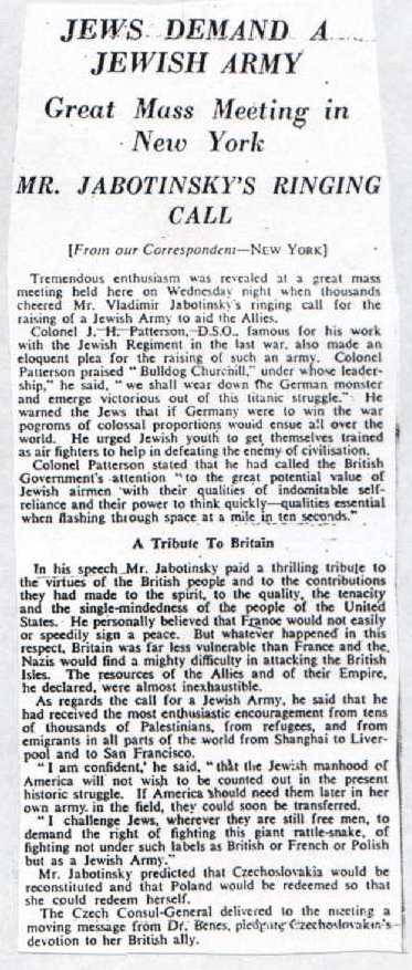 Scan from Jewish Chronicle, June 21, 1940