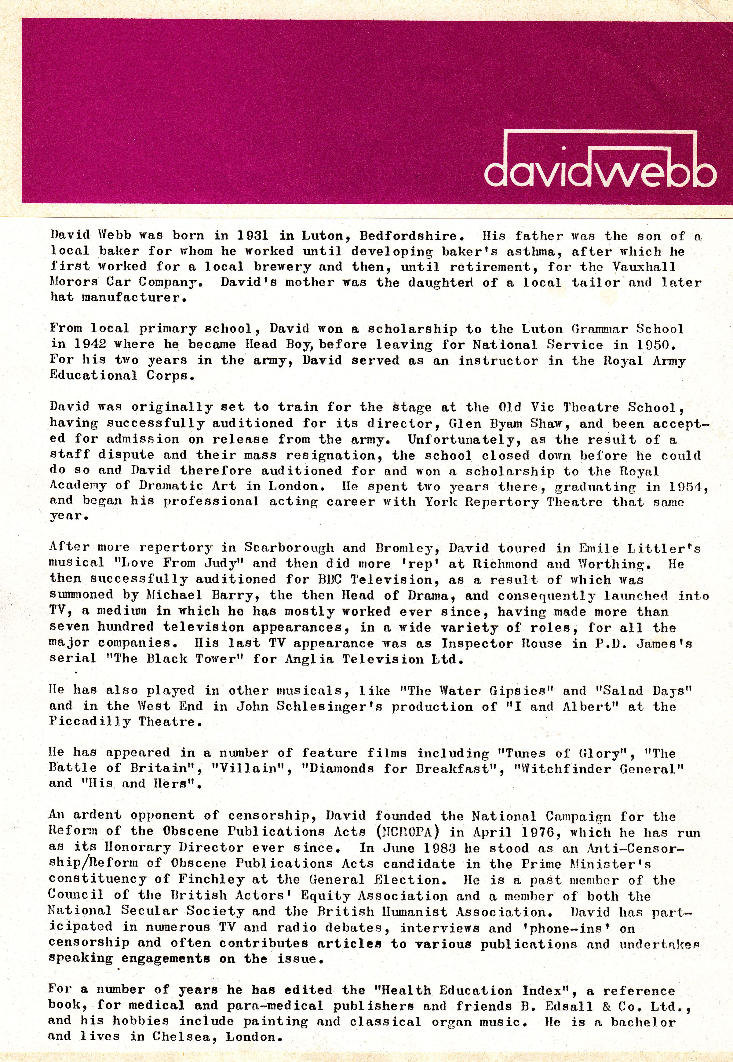 The david webb virtual archive fan site index of personal items cv 4 this appears to be the template for the one immediately below cv 4a one page from 1986 cv 5 this was produced in january 1986 yelopaper Image collections